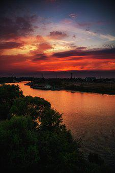 Colorful Sunset, Bridge, Kotorosl, Sky, River, Dahl