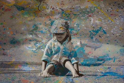 Child, Ground, Paint, Childhood, Happy, Fun, Activity