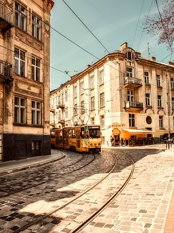 Lviv, Ukraine, City, Urban, Streetcar, Trolley, Travel