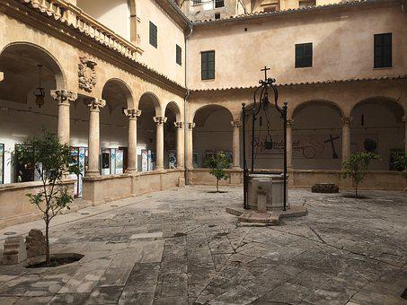 Mallorca, Courtyard, Patio, Architecture, Monastery