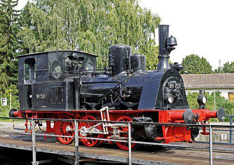 Steam Locomotive, A Museum Exhibit, Able To Roll, Hub