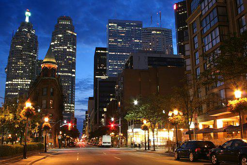 Downtown, Street, Toronto, Dusk, Building, Skyscraper