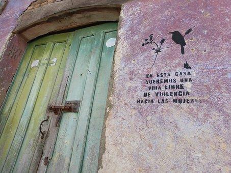 El Salvador, Suchitoto, Door, Hauswand, Violent, Women