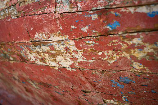 Red, Painted, Worn, Texture, Wood, Abstract
