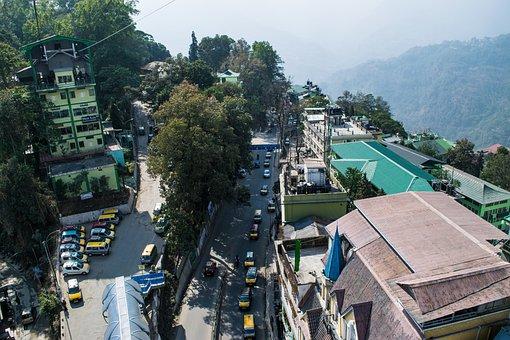 Bird's Eye View, Road, Traffic, Buildings, Street, Town
