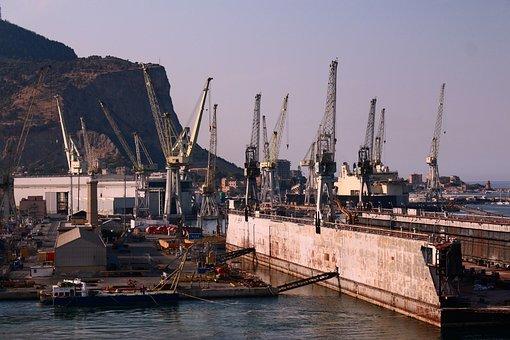 Port, Cranes, Water, Harbour Cranes, Hall