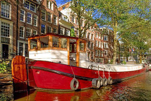 Barge, Houseboat, Boat, Ship, Canal, Amsterdam