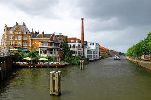 Canal, Waterway, Barge, Boat, Building, Factory, Brick