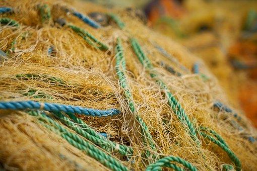Network, Yellow, Fishing Net, Fishing, Old, Node, Rope