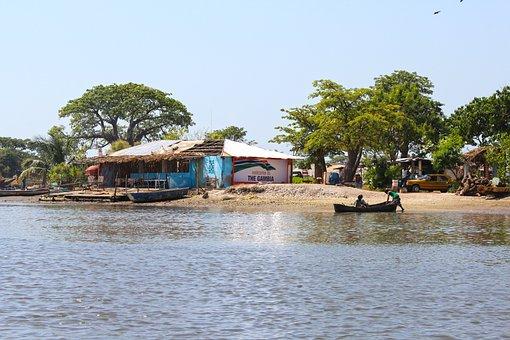 River Scene, Gambia, Fishing Village, Africa, Boat