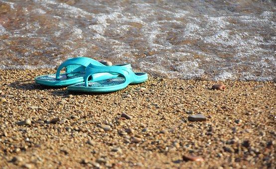 Part, Water, Gravel, Summer, Slippers, Beach, Sea, Blue