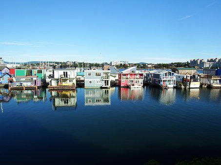 Fishermans Wharf, Victoria, Canada, Houseboats, Port