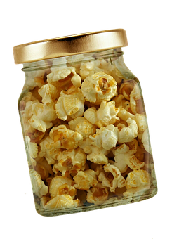 Popcorn, Glass, Lid, Isolated, Exemption, Cut Out