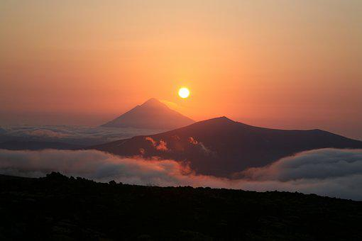 Volcano, Sunset, Evening, Mountains, Kamchatka