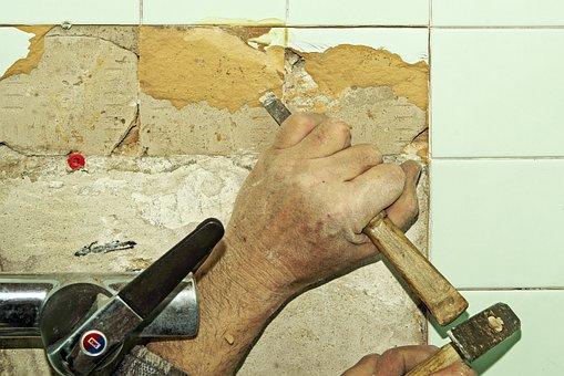 Tile, Renovation, Water Room, Wall, Tiles, Chisel