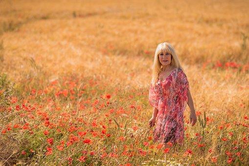 Poppies, Person, Calm, Young, Soledad, Landscape, Solo