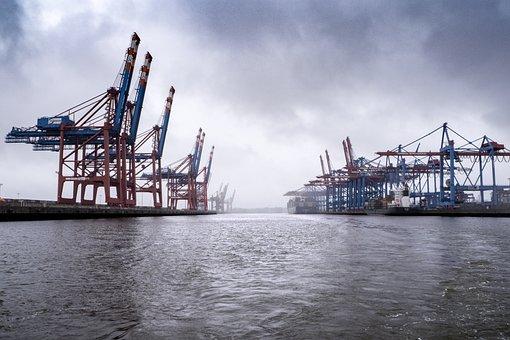 Port, Terminal, Cranes, Container Terminal, Hamburg