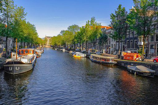 Canal, Waterway, Barge, Home Boat, Evening, City