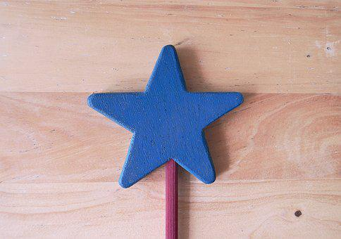 Magic Wand, Star Wood, Blue Star, Wood, Blue