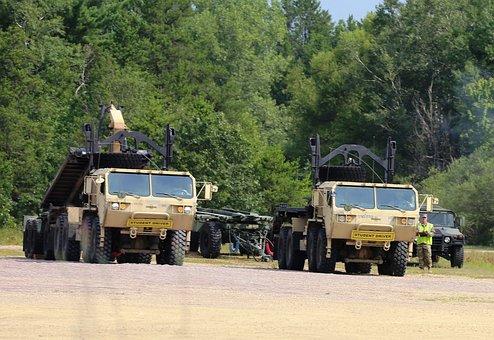 Truck, Convoy, Armored, Camo, Desert, Vehicle, Trailer