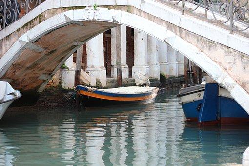 Barge, Bridge, Canal, Venice, Reflection, Railings