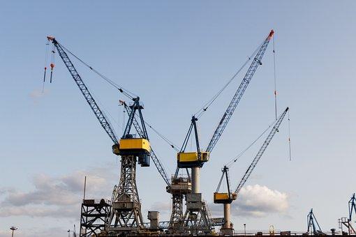 Hamburg, Port, Cranes, Hanseatic, Hamburg Port, Elbe