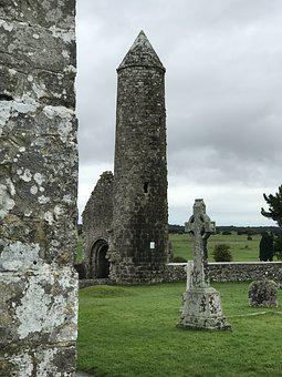 Ireland, Tower, Grass, Meadow, Clouds, Historically