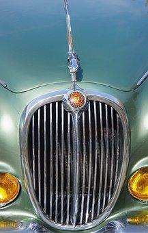 Vintage, Jaguar, Front, Grill
