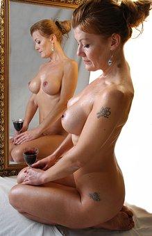 Woman, Mirror, Nude, Symmetry, Temptation, Sensuality