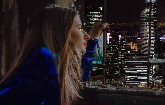 Girl, The Girl At The Window, City, Night, Night City