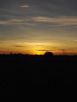 Sunrise, Cornfield, Mead, Plain, Sky, Asia, Nature