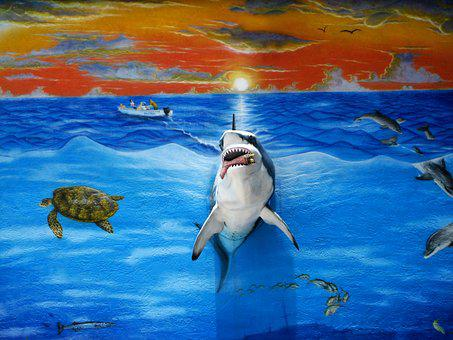 Three Dimensional Mural, Florida Keys, Shark, Painting