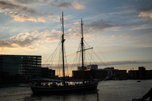 Sunset, Ship, Water, Sea, Travel, Transportation, Boat