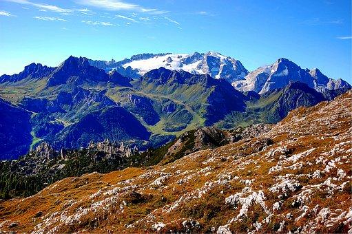 Marmolada, Dolomites, Italy, Mountains, Alpine