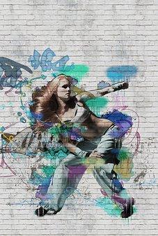 Graffiti, Dancing, Girl, Street, Urban, Wall, Adult