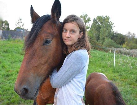 Horse, Equine, Girl, Woman, Hug, Complicity