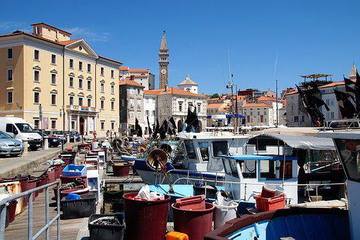 The City Of Piran, Fishing Port, Fishermen, Slovenia