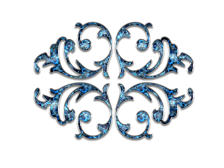 Decor, Ornament, Jewelry, Flower, Blue, Silver