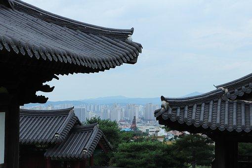 City, Church, Roof, Blue, Gray, Black, White, Korea