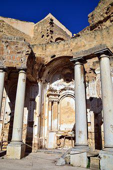 Columnar, Ruin, Destroyed, Church, Old, Lapsed, Sicily