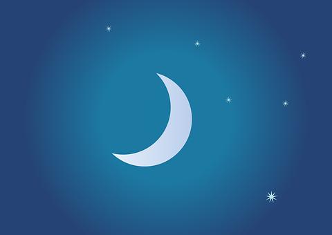 Night, Clear, Moon, Star, Sky, Sickle, Dark, Crescent