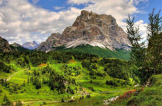 Monte Pelmo, Dolomites, Alm, Nature, Blue, Rubble Field