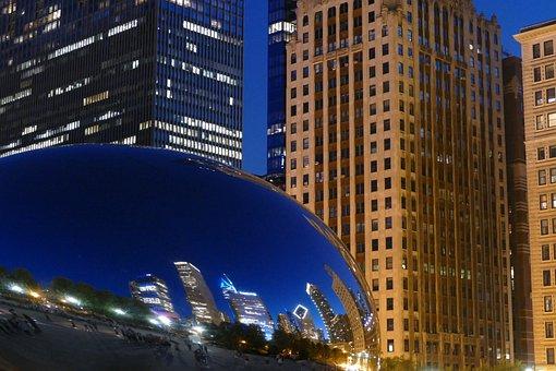 Chicago, Dusk, Evening, Skyscraper, Skyline, Usa