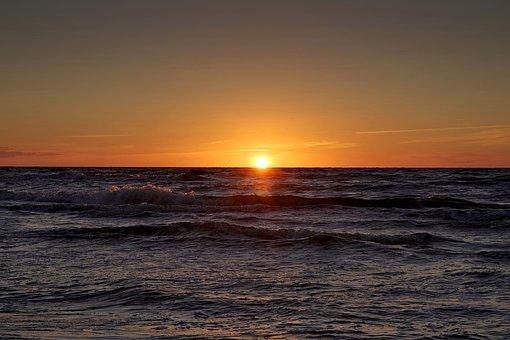 Sunset, Sea, Beach, Cloudless, Sky, The Coast, Poland