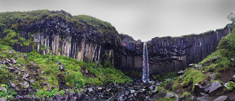 Svartifoss, Iceland, Cascade, Basalt, Waterfall, Green