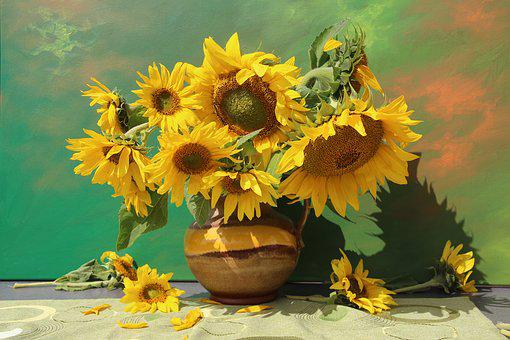 Still Life, Bouquet, Flowers, Close, Vase, Flower Vase