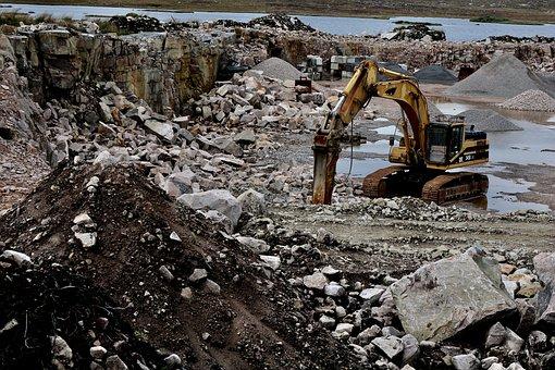 Quarry, Excavators, Work, Destruction
