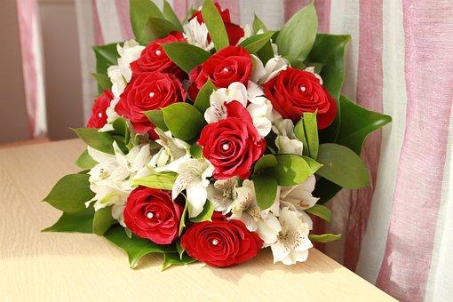 Flower, Bouquet, Bride, Wedding, Pink, Red, White