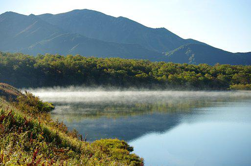 Lake, Mountains, Morning, Fog, Forest, Greens, Birch
