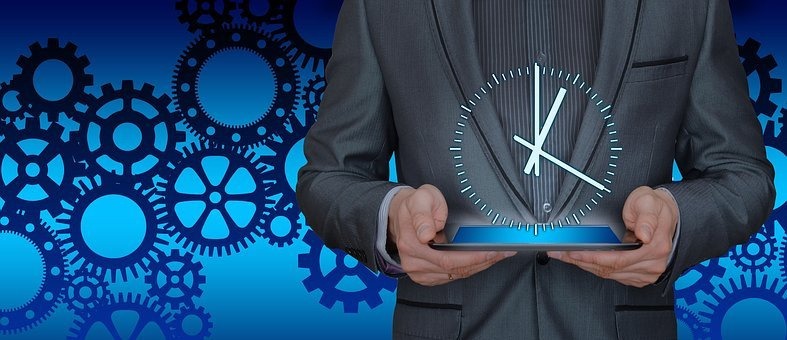 Time, Businessman, Tablet, Gears, Organization